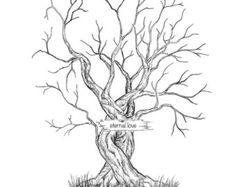 Canvas Wedding Tree Guest Book Hand Drawn Fingerprint Print Digital Template