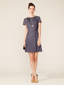 Chambray Pleated Dress by RED Valentino at Gilt