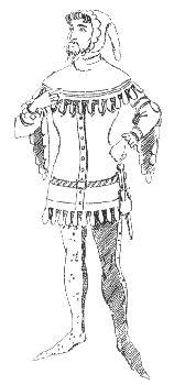 Cotehardie mit Surcote, weite, gezaddelte Ärmel und gezaddelter Saum, ebenso gezaddelte Gugel Costumes, Middle Ages, Hemline, Figurine, Dress Up Clothes, Fancy Dress, Men's Costumes, Suits