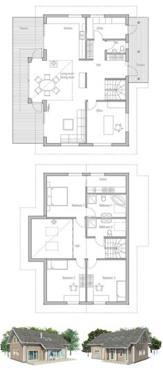 Small house plan with affordable building budget, three bedrooms, big windows and open planning. Floor Plans.