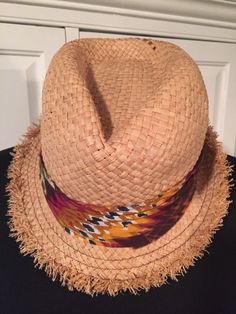 David & Young Women's Frayed Straw Fedora Tan Multi-Colored Print Hat OS #DY