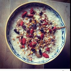 Start the day right with the a delicious breakfast by @pure.vitality.nutrition - organic gluten free vanilla porridge. Topped with cinnamon hemp seeds bee pollen goji berries coconut flakes cacao nibs and finished with a cheeky drizzle of organic almond butter!