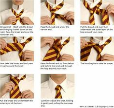 Fancyarchive: How To Tie The Tie. It looks like.the Harry potter or hogworts tie