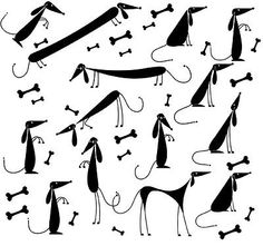 "Dachshund Glass/Ceramic Low Fire Decals - Sheet 8"" x 8"" CHOOSE YOUR DECAL COLOR"