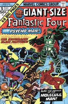 Giant-Size Fantastic Four Marvel Bronze VF- Enter Psycho-Man! Old Comics, Archie Comics, Vintage Comics, Comic Book Covers, Comic Book Heroes, Comic Books Art, Book Art, Marvel Heroes, Fantastic Four Comics