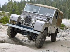 Land Rover 107 Serie One station wagon on the rock...lol