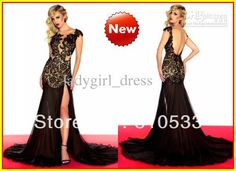 2013 Nude Sexy Mermaid High Collar Lace Black Chiffon Long Celebrity Prom Dresses Dress Gowns 61041-in Evening Dresses from Apparel & Accessories on Aliexpress.com $149