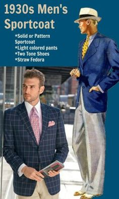 1930s Men's Sportcoat Style, casual fashion