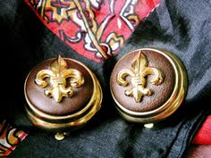 Vintage Joan Rivers Faux Leather Gold Tone Fleur Di Lis Clip On Earrings on Etsy, $12.00