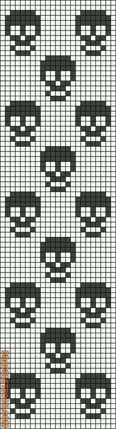 Rotated Alpha Pattern added by christalxo Cross Stitching ponto cruz caveiras Knitting Charts, Knitting Stitches, Sock Knitting, Knitting Machine, Vintage Knitting, Free Knitting, Needlepoint Stitches, Knitting Patterns, Crochet Skull Patterns