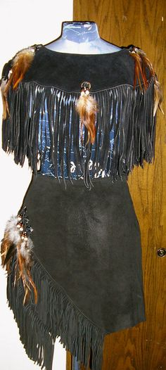 70s native american black suede fringed mini by ChloeandNatalieVtg, $125.00