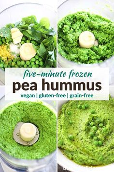 Five-Minute Pea Purée / Pea Hummus (w/ frozen peas) Pea Recipes, Pureed Food Recipes, Veggie Recipes, Real Food Recipes, Cooking Recipes, Disney Recipes, Disney Food, Vegan Appetizers, Appetizer Dips