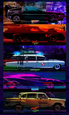 Cars wallpaper horizontal 42 new ideas Digital Foto, Car Illustration, Retro Waves, Car Posters, Movie Poster Art, Back To The Future, Car Wallpapers, Ghostbusters, Concept Cars