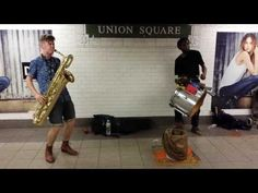 TOO MANY ZOOZ Baritone Saxophone and Drummer Duo Street Performance in NYC Union Square Subway - YouTube
