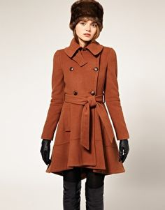 I want a pea coat like this one that flairs out at the bottom! maybe in a different color though..