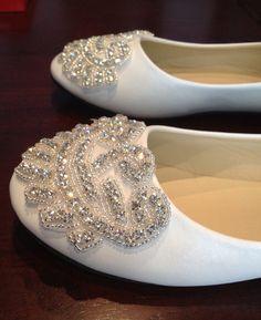 Flat Bridal Shoe,Rhinestone Shoe,Wedding Shoe, Flat Rhinestone  Shoe on Etsy, $62.00