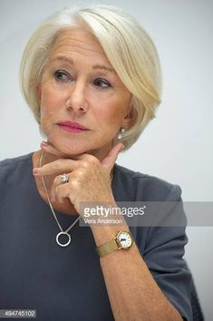 """Helen Mirren at the """"Trumbo"""" Press Conference at the Four Seasons. News Photo - Getty Images Mom Hairstyles, Hairstyles Over 50, Helen Mirren Hair, Short Hair Cuts, Short Hair Styles, Hair Cuts For Over 50, Dame Helen, Short Bob Haircuts, Fine Hair"""