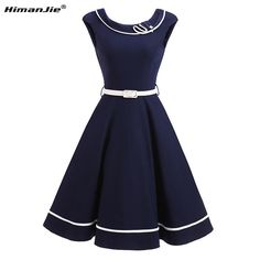 837ff81838 HimanJie Audrey Hepburn rocznika stałe pas biodrowy huśtawka bawełniana  sukienka kobiety casual party retro 50 s