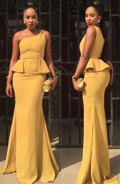 8ae7976b8b4 Jupe Pagne   Description élégante sirène africaine une épaule longue robe  de bal   soirée jaune