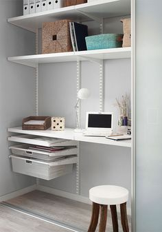 Howards is an elfa® shelving specialist. As a component based system, elfa is flexible enough to adapt and change. It's easy to install and has a 10 year guarantee. Track Shelving, Elfa Shelving, Elfa Closet, Closet Desk, Home Office Decor, Office Furniture, Home Decor, Storage Room Organization, Shelving Solutions
