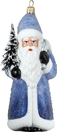 Ino Schaller Tief Blue Glittered Santa Blown Glass Christmas Ornament by Joy To The World Collectibles