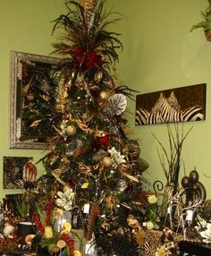 Black, Silver, Gold and Red Christmas Tree
