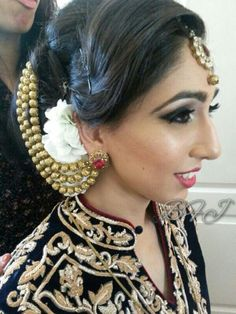 'Snow white collection' white stocks hair garland for bride on her wedding. Beautifully worn hair gajra (garland) created by bridal flower jewellery! follow on facebook and instagram