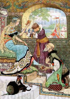 Beautiful Princess, Russian Fairy Tale Book Illustration