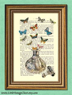 COLORS OF FRAGRANCE - Perfume Bottle & Butterflies - Dictionary art print - vintage page print recycled - Antique Book Page upcycled Butterfly Images, Vintage Medical, Dictionary Art, Antique Prints, Antique Books, Unique Vintage, Special Gifts, The Book, Butterflies