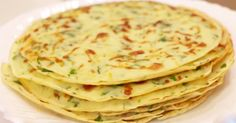 Cheese pancakes with herbs. Ingredients: 200 g flour; 50 ml of vegetable oil; 300 ml of water; 1 clove of garlic; 1 small bunch of green; Czech Recipes, Russian Recipes, Russian Dishes, Ethnic Recipes, Veggie Recipes, Cooking Recipes, Healthy Recipes, Drink Recipe Book, Healthy Cook Books
