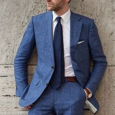 INK BLUE ON NAVY BLUE | @mensliving Linen ink blue suit, crisp white shirt, woven navy tie, brown accessories. | Cc. @robinbery