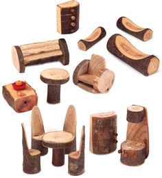 Project: How to Make a Toy Tree House Rustic Tree Block Furniture Collection, 15 PiecesRustic Tree Block Furniture Collection, 15 Pieces Fairy Furniture, Dollhouse Furniture, Wooden Furniture, Outdoor Furniture, Kitchen Furniture, Office Furniture, Living Room Furniture, Furniture Ideas, Furniture Design
