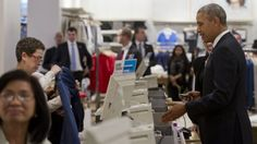 "Gaffe: Obama Visits Gap, Amazed by Credit Card Machine. ""Oh wow, so you can sign the machine?"" 