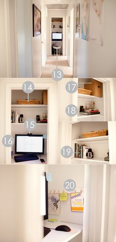 Cozy little closet office space of photographer April Nienhuis