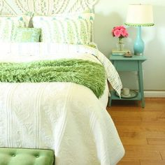 Teenage Girl Bedroom Design, light yurquize, white, apple green and pink accents. pretty! (kelly berg, Arte styling)