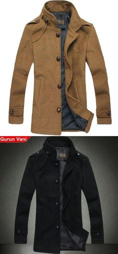 Fashion Leisure Collar Wool Coat Color classification: Yellow,Black. The collar: No hat stand. Men - length: In the long section (wear long clothing in the mid thigh above, below the hip). Size: M (Ying Lun),L (Fashion),XL (up),XXL (explosive sell). After you choose the color,check the second left picture.. #Wedone #Apparel