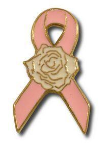 Pink Ribbon with Rose Awareness Ribbon Lapel Pin