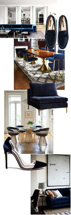 Zara velvet loafers - Anthropologie velvet Edlyn chair- Gianvito Rossi  velvet plexi pumps  There are so many fall trends that I'm loving right now. This particular  trend is also perfect for my home, too. I've always loved navy blue velvet  accents. For instance, I have been searching for the perfect navy velvet  pillow for my bed. It will be the perfect pop for my all-white bedding.  When I was deciding on the perfect fabric to upholster my inspiration board  in my office, navy velvet…