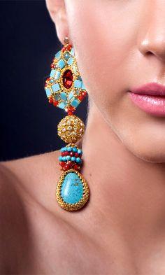 ~~Beadwork by Edgar Lopez ~ Maya Earrings ~~