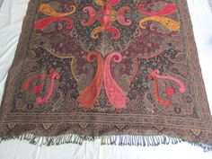 BOILED WOOL SHAWL PAISLEY HAND EMBROIDERY DESIGN JAMAWAR CASHMERE THROW BED 3990