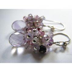 Pink Amethyst Earrings, Spinel, Topaz, Rhodolite Garnet, Quartz,... (€41) ❤ liked on Polyvore featuring jewelry, earrings, sterling silver garnet earrings, amethyst earrings, garnet earrings, cluster earrings and topaz earrings