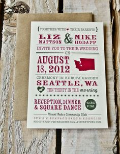 Wedding Invitation: Rustic Typography and State