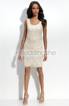 Attractive Sheath/Columne Scoop Neckline Mini-length Embroidery Wedding Dresses(Free Shipping)