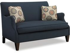 This settee comes standard with a goose blend seat cushion and a pair of 18'' throw pillows.