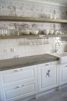 Shelves, Tile and Wood counter on Pinterest