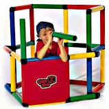 My First Quadro Playset Kit. Modular tubes in four colors. Set includes over 35 plans for various structures such as climbing gym, fort, and more. Available for shipment in the USA only at $181.88.