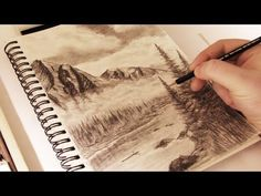 How to Draw - Mountains in the Mist w/ Commentary - YouTube