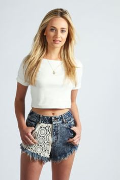 Isabelle Crochet Front Distressed Denim Hotpants at boohoo.com