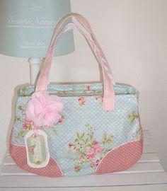 ♥ Schulter Tasche Wachstuch Au Maison handmade süß Dots Shabby chic