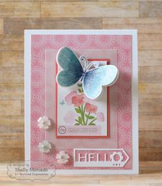 May SOTM Hello Card by Shelly Mercado #Cardmaking, #JustBecause, #StampoftheMonth,http://tayloredexpressions.com/kits.html